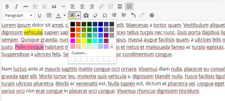 WP Editor TinyMCE Text Highlight Backgrond Color